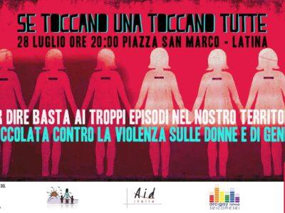 A Latina domenica 28 luglio la fiaccolata di Non Una di Meno contro la violenza di genere